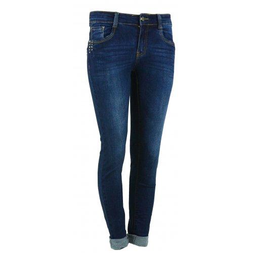 Jeansy damskie przecierane z dżetami na kieszonkach