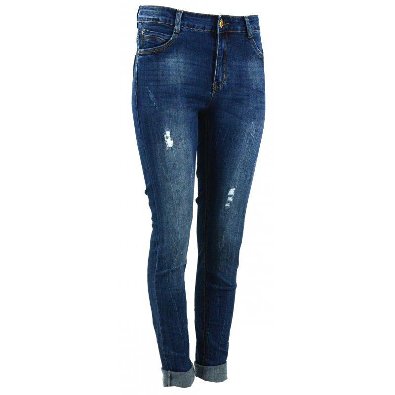 Spodnie jeansowe damskie rurki przecierane z dziurami