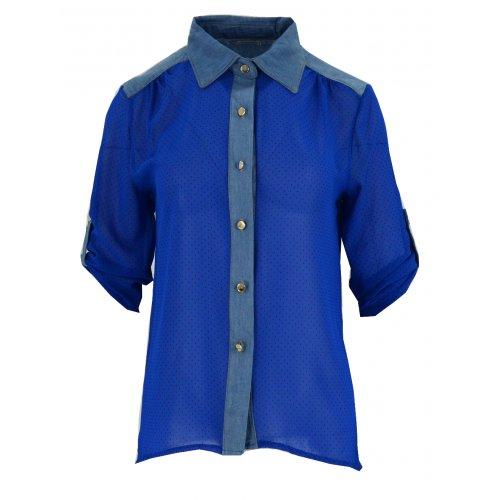 Bluzka szyfonowa rozpinana (jeans+ kropki chaber)