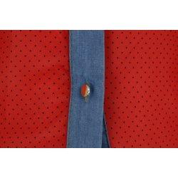 Bluzka szyfonowa rozpinana (jeans+ kropki czerwona)