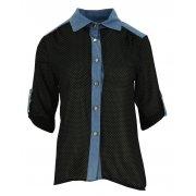 Bluzka szyfonowa rozpinana (jeans+ kropki czarna)