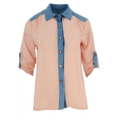 Bluzka szyfonowa rozpinana (jeans+ kropki róż)