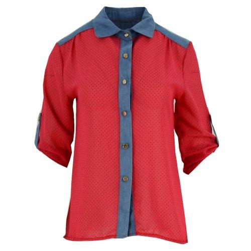 Bluzka szyfonowa rozpinana (jeans+ kropki koral)