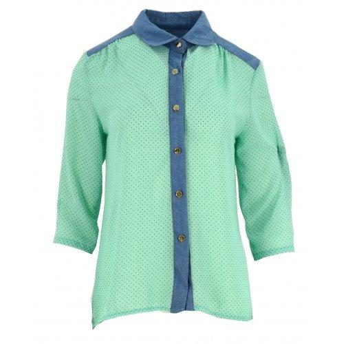 Bluzka szyfonowa rozpinana (jeans+ kropki mięta)