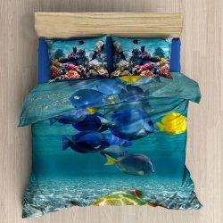 Pościel 3D 160x200 100 % BAWEŁNA POLSKI PRODUCENT WZ. 140 Ocean Rybki Ryby