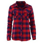 Koszula damska w kratę (czerwona z granatem)
