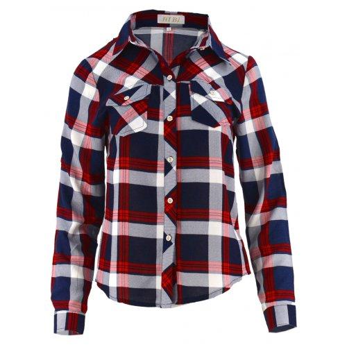 Bluzka koszulowa w kratkę z kolnierzykiem