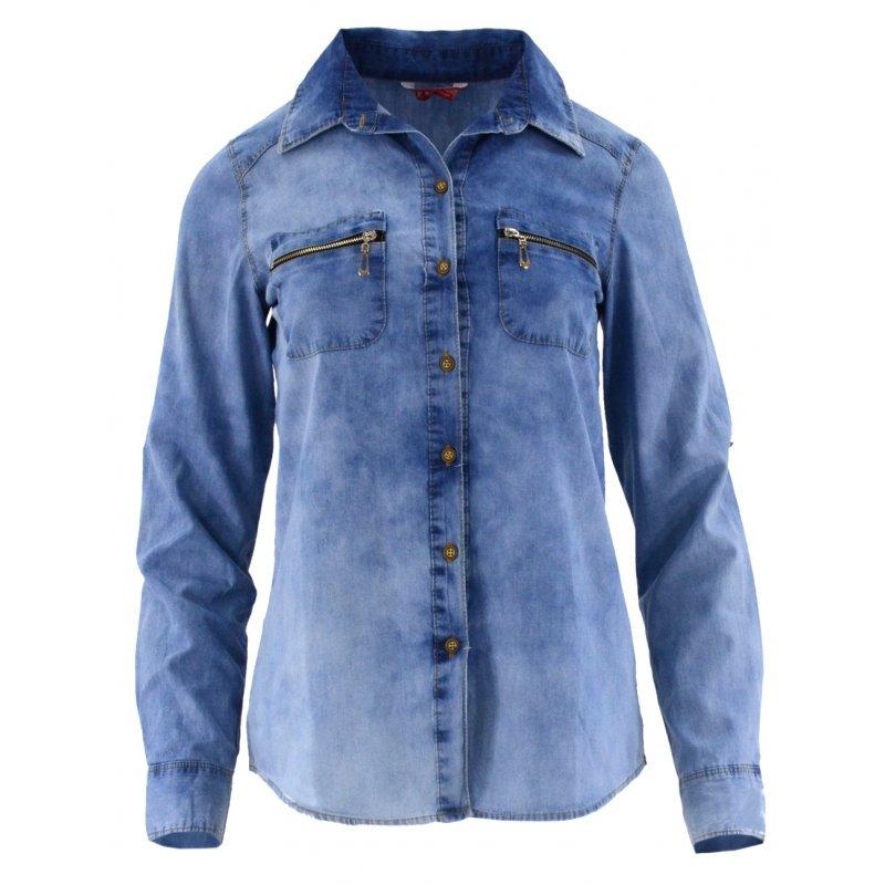 030c0437 Damska koszula jeansowa rozpinana z ozdobnymi zamkami | eStilex.pl | Modna  i tania odzież damska online, pościel 3D, narzuty