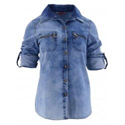 Damska koszula jeansowa rozpinana z ozdobnymi zamkami