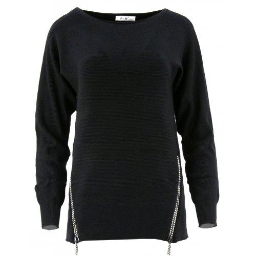 Dlugi sweter z cekinowymi zamkami (czarny)