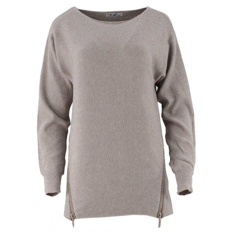 Dlugi sweter z cekinowymi zamkami (beżowy)