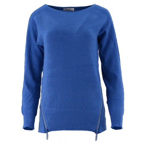 Dlugi sweter z cekinowymi zamkami (niebieski)