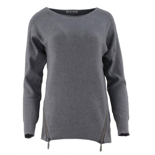Dlugi sweter z cekinowymi zamkami (c.szary)