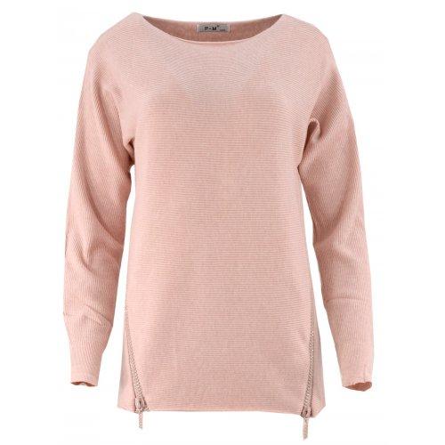 Dlugi sweter z cekinowymi zamkami (puder róż)