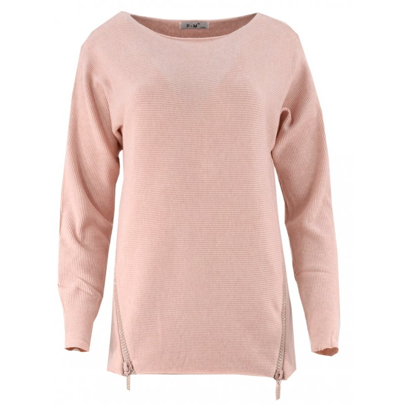 Odzież damska online Dlugi sweter z cekinowymi zamkami (puder róż)