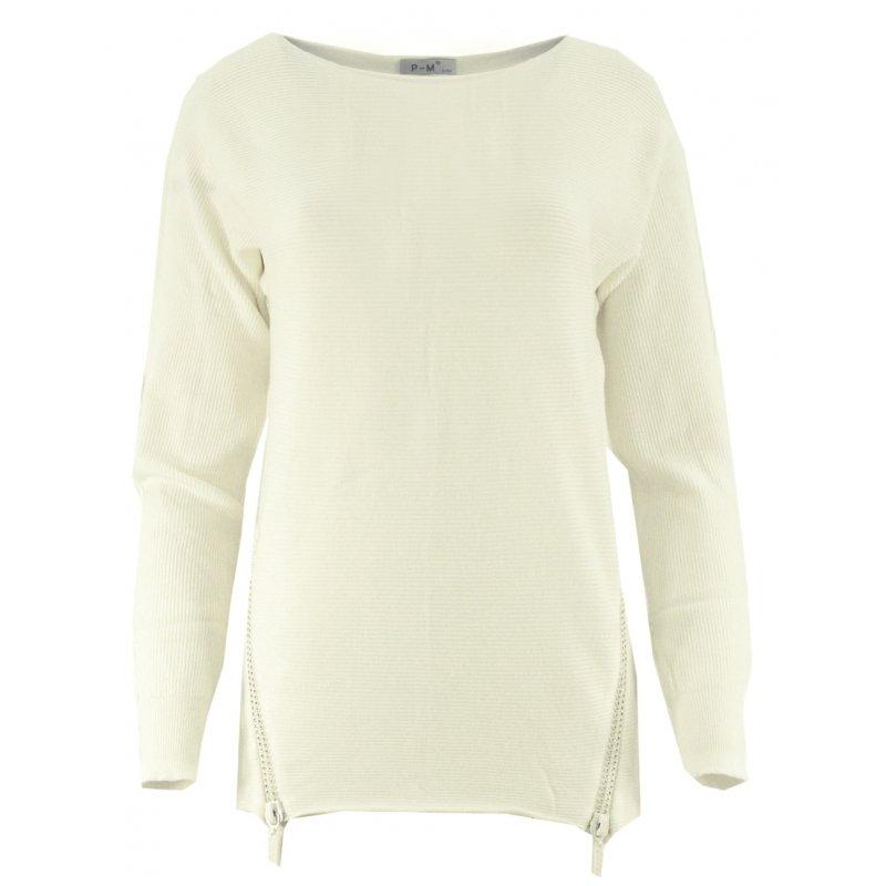 Dlugi sweter z cekinowymi zamkami (kremowy)