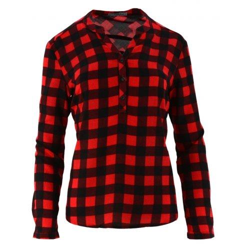 Koszula w kratę z dekoltem na guziki (czerwona)