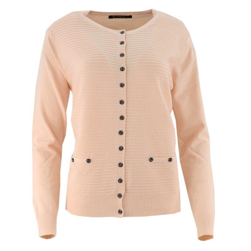 Klasyczny rozpinany sweter D. ROZMIAR (łososiowy)