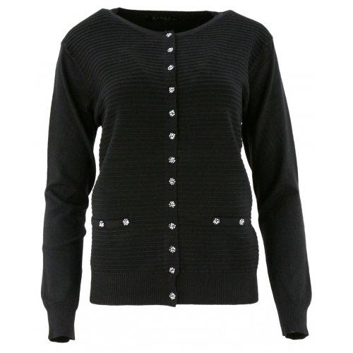 Klasyczny rozpinany sweter D. ROZMIAR (czarny)