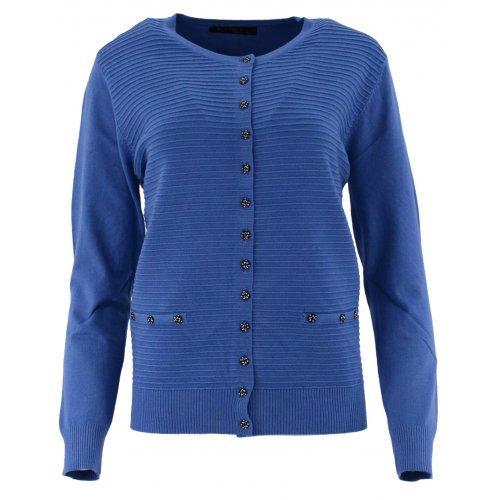 Klasyczny rozpinany sweter D. ROZMIAR (niebieski)