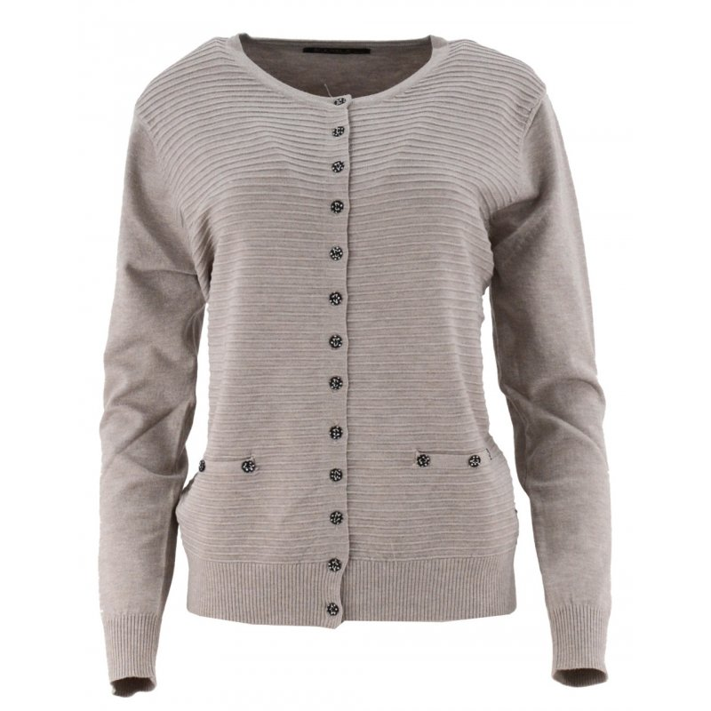 Klasyczny rozpinany sweter D. ROZMIAR (beżowy)