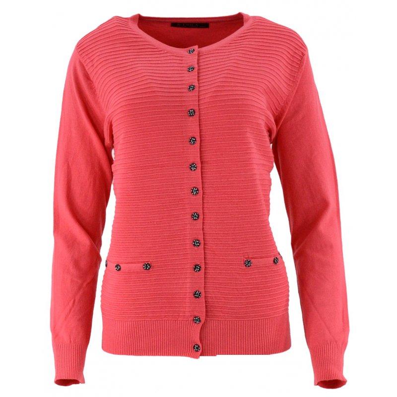 Klasyczny rozpinany sweter D. ROZMIAR (malinowy)