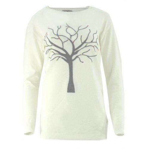 Piękny sweter z motywem drzewka (kremowy)
