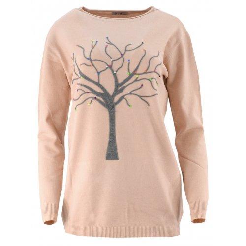 Piękny sweter z motywem drzewka (pudrowy roż)