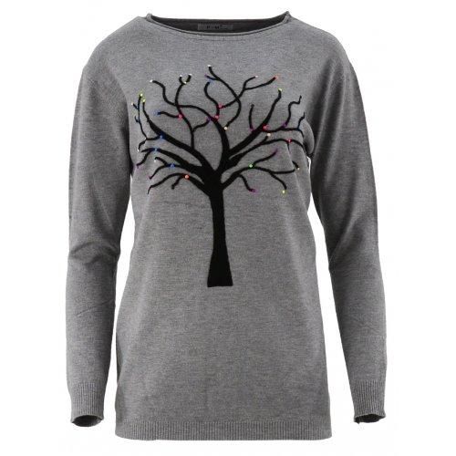 Piękny sweter z motywem drzewka (szary)