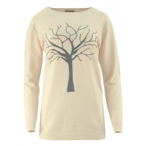 Piękny sweter z motywem drzewka (beżowy)
