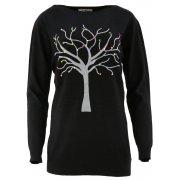 Piękny sweter z motywem drzewka (czarny)