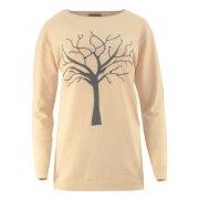 Piękny sweter z motywem drzewka (brzoskwiniowy)