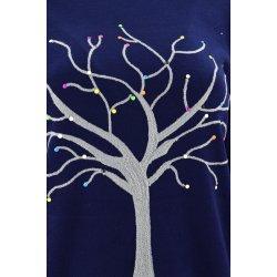 Piękny sweter z motywem drzewka (granatowy)