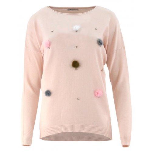 Sweter z kolorowymi pomponami (pudrowy róż)