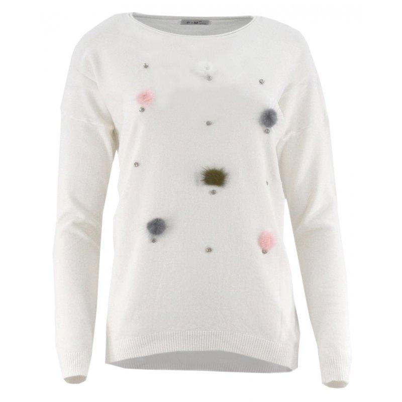 Sweter z kolorowymi pomponami (śmietankowy)