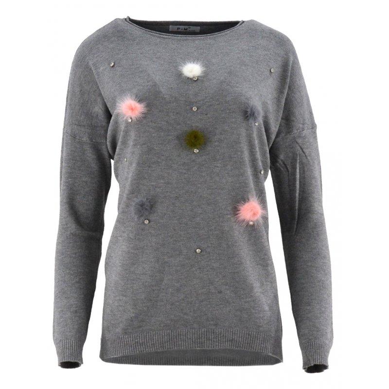 Sweter z kolorowymi pomponami (szary)