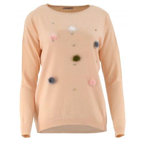 Sweter z kolorowymi pomponami (brzoskwiniowy)