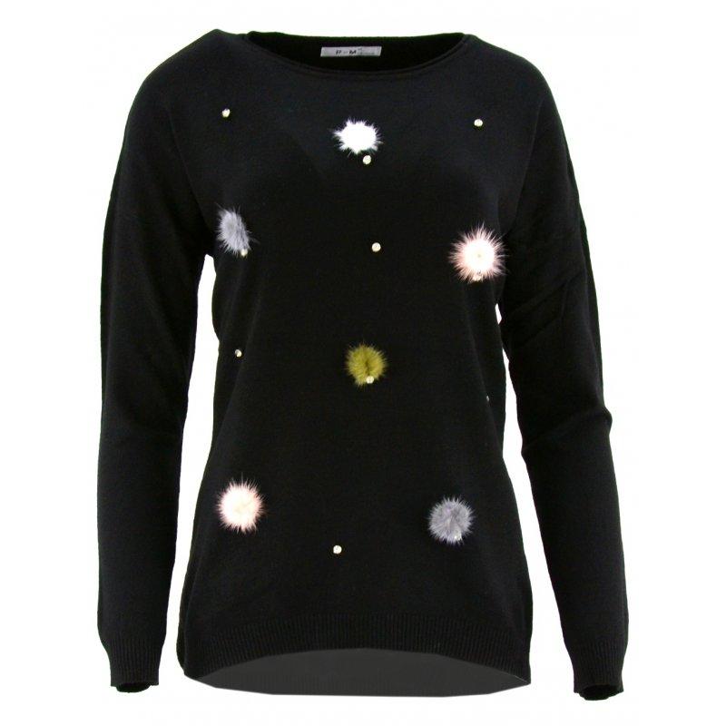 Sweter z kolorowymi pomponami (czarny)