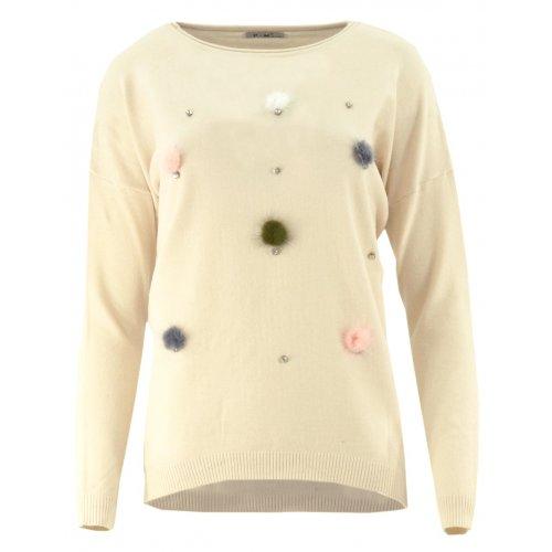 Sweter z kolorowymi pomponami (beżowy)