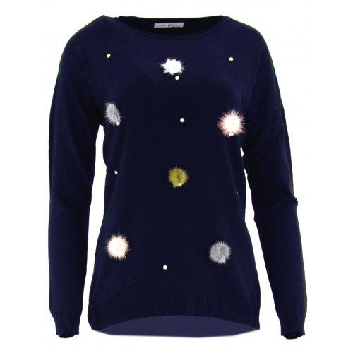 Sweter z kolorowymi pomponami (granatowy)