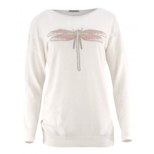 Sweter z ozdobną ważką (biały)