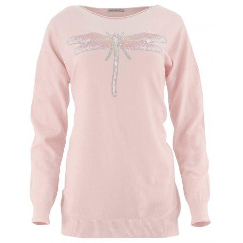 Sweter z ozdobną ważką (pudrowy róż)