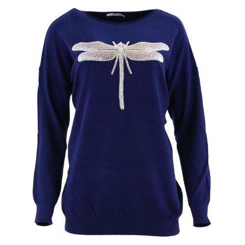 Sweter z ozdobną ważką (granat)