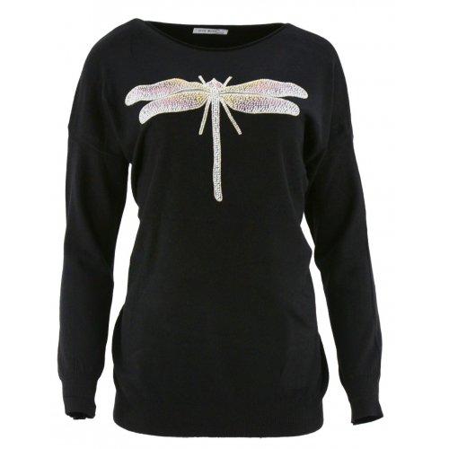 Sweter z ozdobną ważką (czarny)