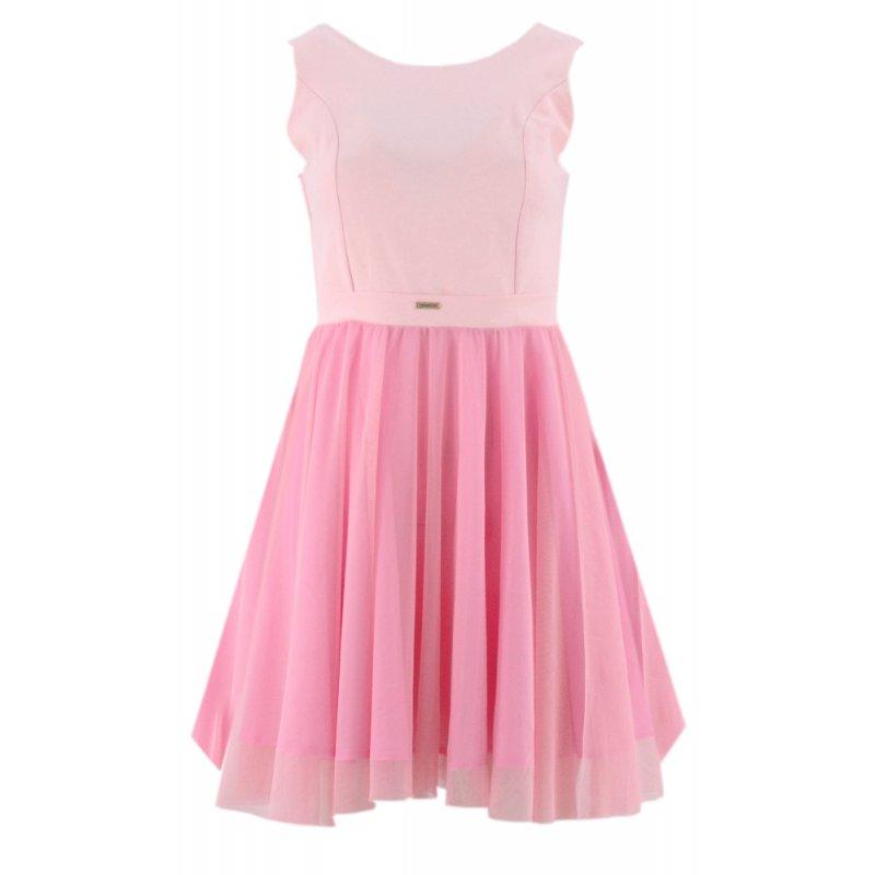 Sukienka rozkloszowana tiulowa (różowa)