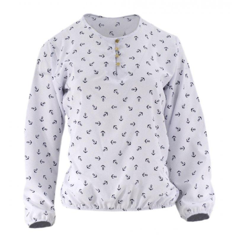 Elegancka bluzka damska w kotwice (biała)