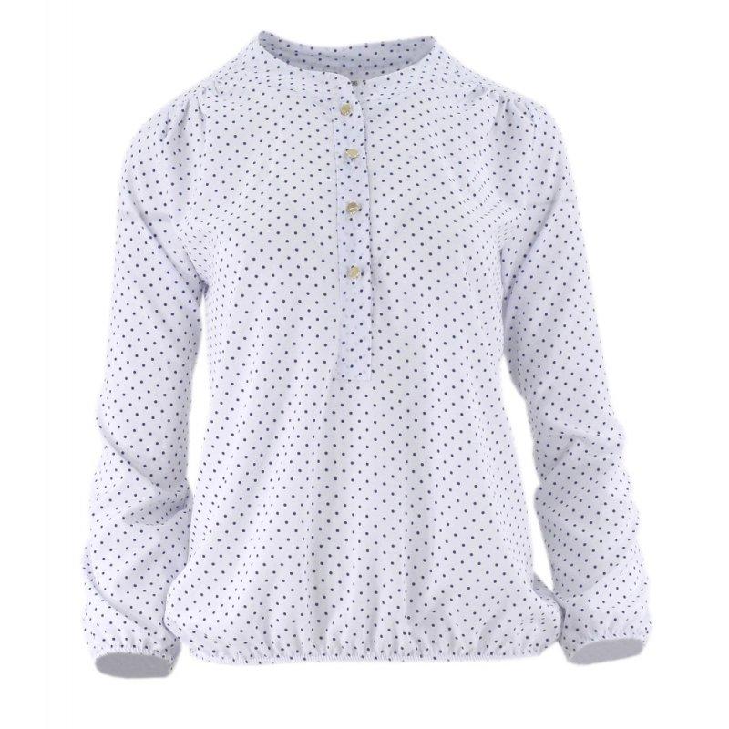 Sklep internetowy z odzieżą damską Elegancka bluzka damska w kropeczki (biała)