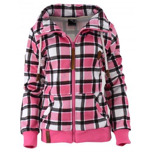 Sklep internetowy z odzieżą damską Bluza w kratkę z kołnierzem (róż)