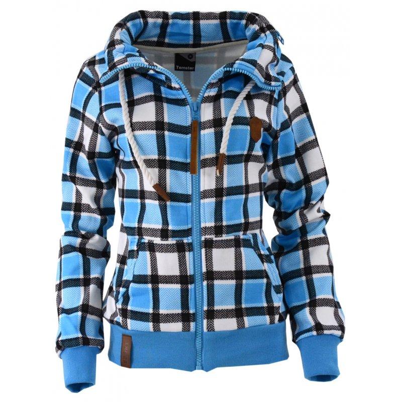 Bluza w kratkę z kołnierzem (niebieska)