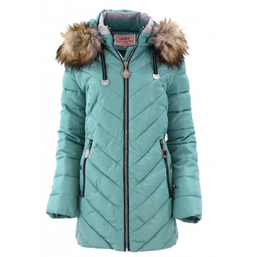 Płaszcz zimowy damski DUŻY ROZMIAR (MIĘTOWA)